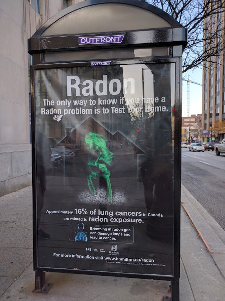 Radon testing PSA on a downtown Hamilton bus shelter (RTH file photo)
