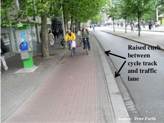 Raised curb cycle track in The Hague