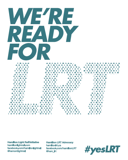 We're Ready For LRT poster, teal on white colour scheme