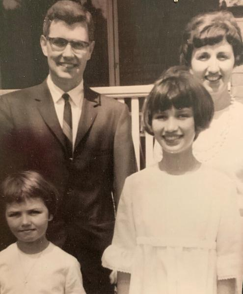 Regan with her parents, Bill and Pat Russell, and her sister Shannon in the 1960s.