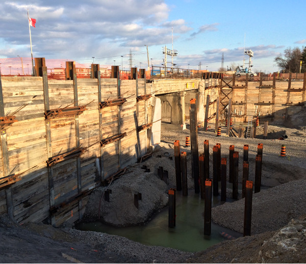 Foundation of new Railroad Bridge in January 2015 (photo by Mark)