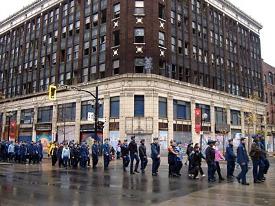 Remembrance Day Parade marching past Lister Block.