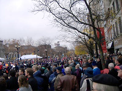 The crowd gathers to pay respect at the Gore Park Cenotaph.