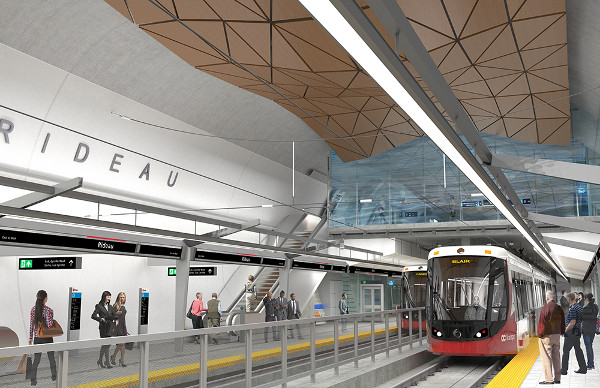 Rideau Station is the most spacious of all the below-grade LRT Stations in Ottawa because of the removal the ceiling and most of the concourse level above the station platform level. (Image Credit: Rideau Transit Group)