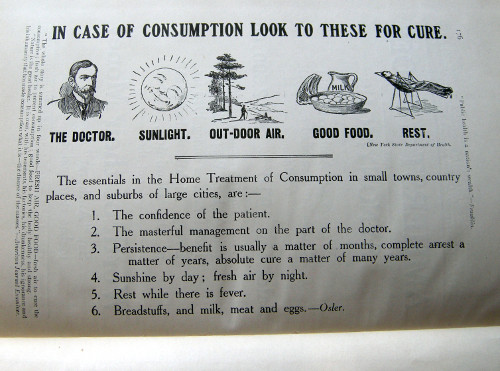 A page from the end matter of Consumption: its Cause, Prevention and Cure, by George Cox (literary editor) and John W. MacLeod (business editor), issued by the Tri-County Anti-Tuberculosis League of Antigonish, Guysborough, and Pictou, Nova Scotia, 1911.