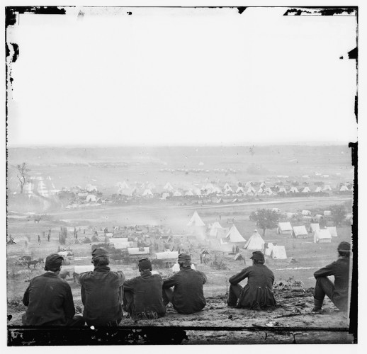 Federal encampment on the Pamunkey River, Cumberland Landing, Virginia. (Image Source: James Gibson. Library of Congress-DIG-cwpb014)
