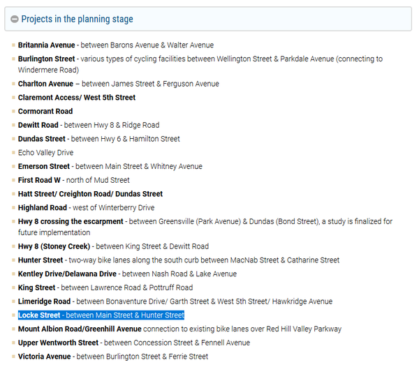 Screenshot: City of Hamilton Cycling Infrastructure web page with Locke Street project highlighted
