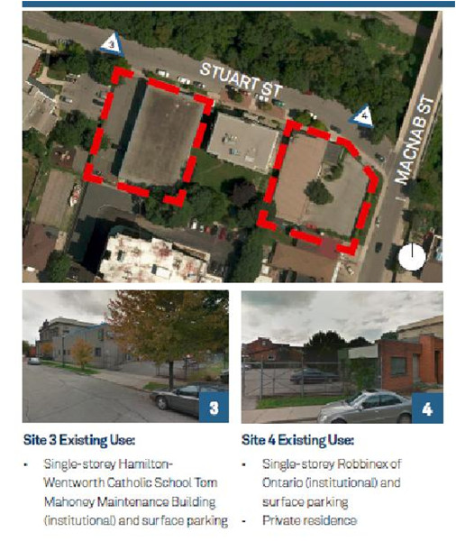 Development opportunity sites on the block immediately west of the GO station. (Image Credit: James North Mobility Hub Study, Brook McIlroy, June 2014)