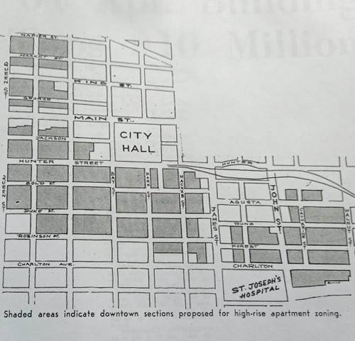 In 1964, amid the usual fretting and grumbling that we were falling behind other large cities, height restrictions were removed from forty-six blocks in the core. Source: Hamilton Spectator, Nov. 25, 1964.
