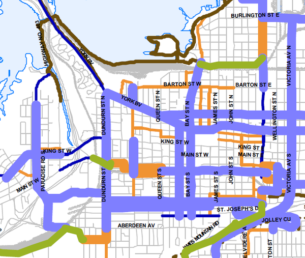 Detail from Shifting Gears 2009 Preferred Cycling Network showing Locke Street bike lanes