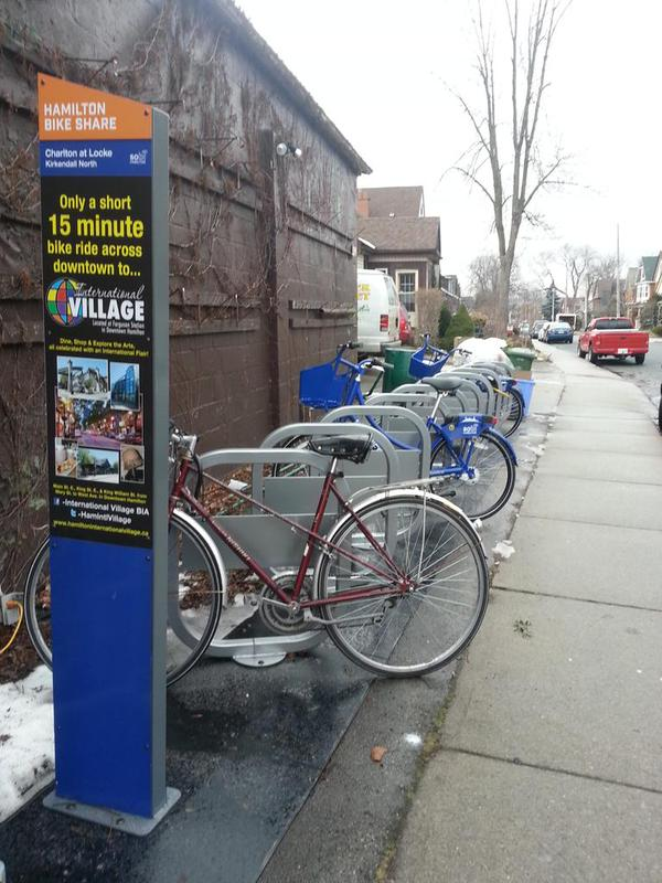 Bike share hub on Charlton at Locke