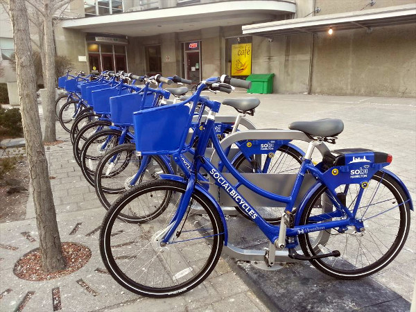 Hamilton Bike Share station at Hunter GO Station (RTH file photo)