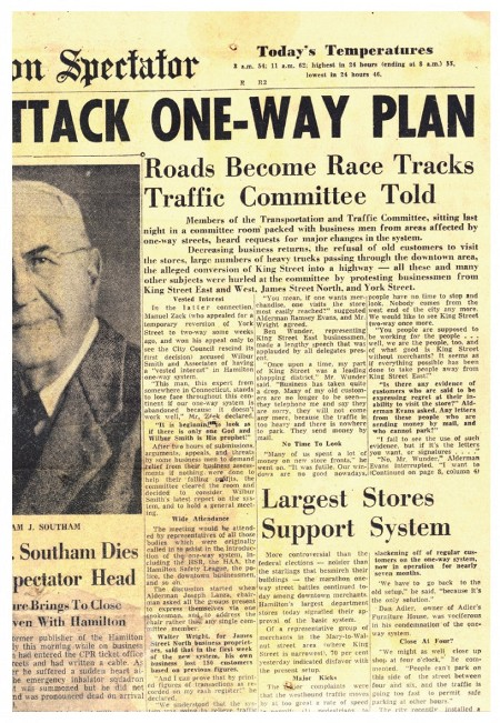 1957 Spectator article: 'Roads Become Race Tracks, Traffic Committee Told'