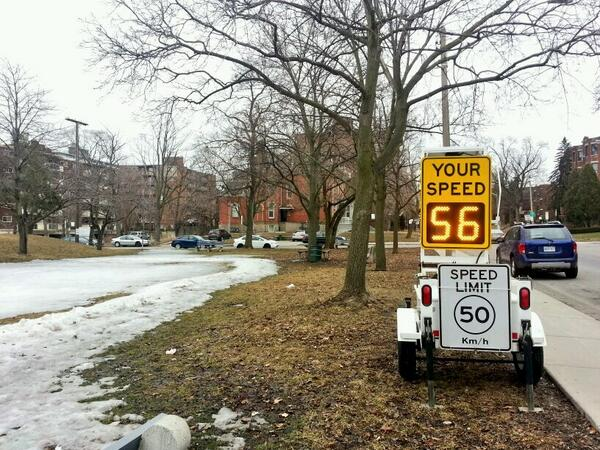 Vehicle measured exceeding the speed limit on Herkimer Street next to Durand Park on Saturday, March 29, 2014 (RTH file photo)