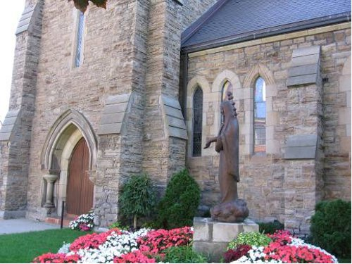 Figure 10. The entrance to St Patrick's Church: the main stone is Eramosa dolomite from the Mountain, but the trim (on the main door) is mainly imported Ohio sandstone.