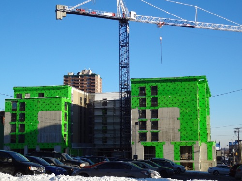 Construction of the Staybridge Suites hotel at George and Caroline (RTH file photo)