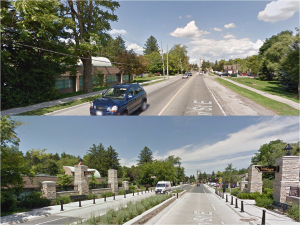 Before-and-after comparison of Wilson Street in Ancaster (Image Credit: Google Streetview)