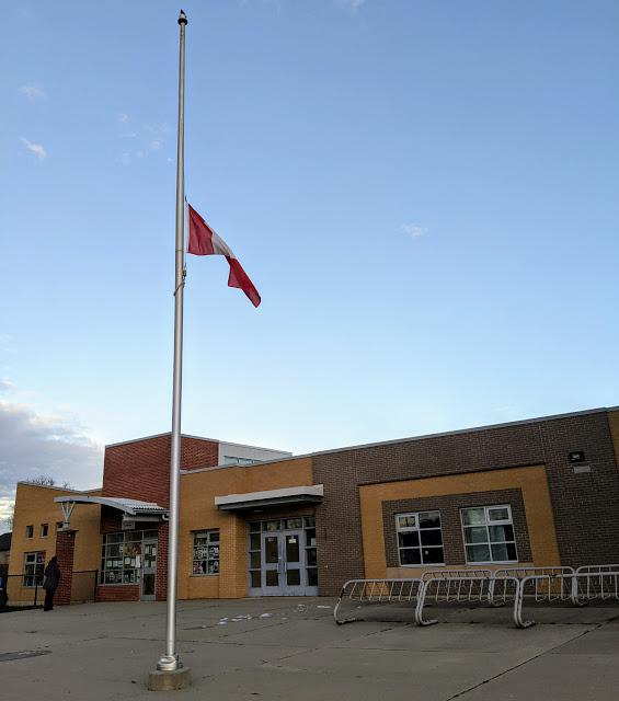 Templemead School with flag flying at half-mast