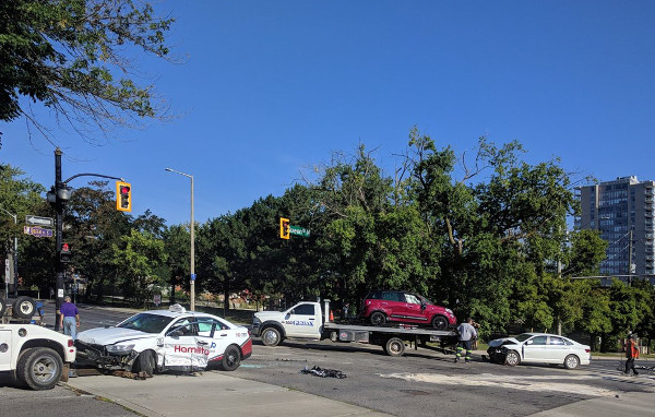Serious multiple vehicle collision at the corner of King St W and Queen St N, the site of a B-Line LRT station (RTH file photo)
