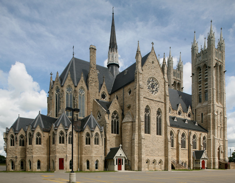 Fig. 1. Guelph, Basilica of Our Lady Immaculate, exterior from liturgical NE (magnetic SW).