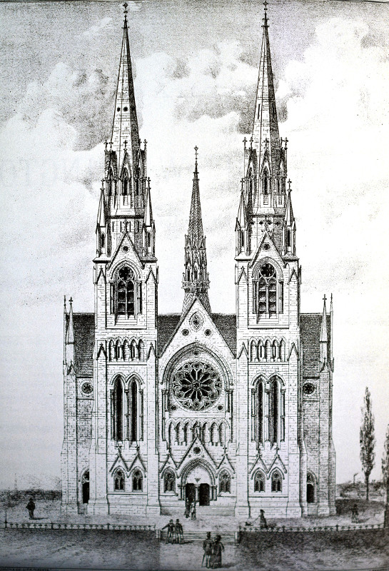 Fig. 3. Guelph, Basilica of Our Lady Immaculate, façade as planned (Historical Atlas of Waterloo and Wellington Counties, 1881).