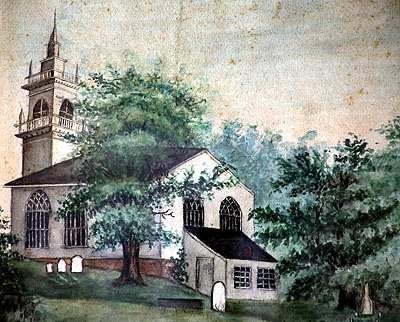 Fig. 1. Watercolour of St John's Anglican Church, Ancaster,1824, preserved in the church hall.