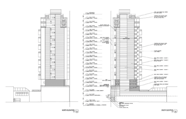 North and south elevations of the proposed building show how the location of the proposed parking stackers has pushed the tower towards the property's James St North frontage