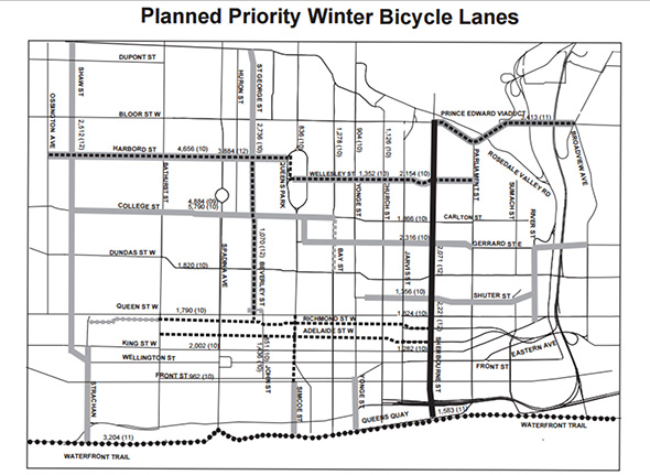 Planned priority winter bicycle lanes, Toronto