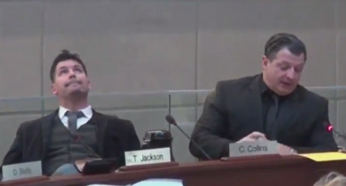 Ward 5 Councillor Chad Collins, left, slowly rolls his eyes at the ceiling while Ward 4 Councillor Sam Merulla speaks to his LRT motion (Image Credit: screen capture from TPR video)
