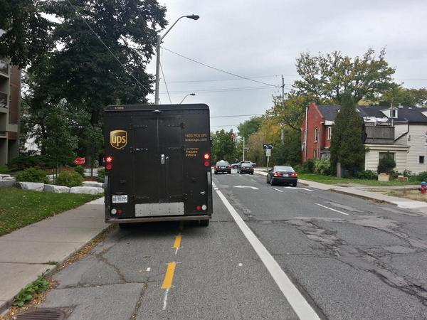 Vehicle blocking unprotected Hunter Street bike lanes (RTH file photo)