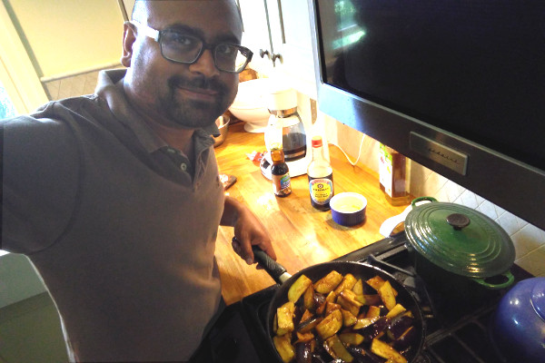 Dr. Ameil Joseph showing off his sauteed eggplant