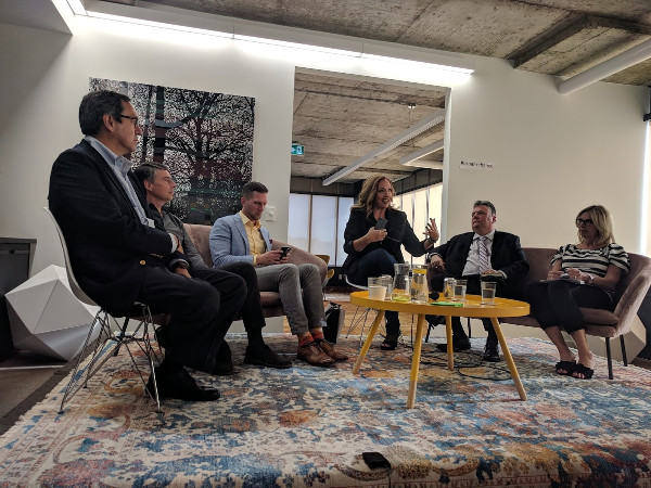 The panel, from left: Gil Peñalosa, Nicholas Kevlahan, Keanin Loomis, Laura Babcock, Brad Clark, and Debbie Dalle Vedove