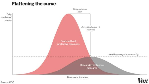 Graph: flattening the curve (Image Credit: Vox)