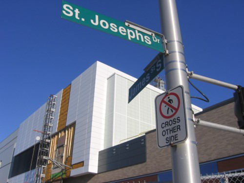 Street sign outside St. Joseph's hospital directing pedestrians to cross on the other side of the intersection (RTH file photo)