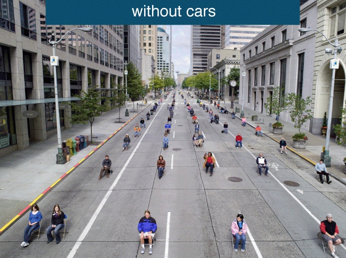 Second slide: space used by 200 people in cars without the cars