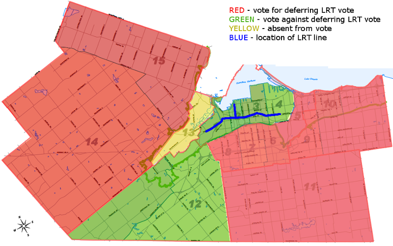 Map: votes for or against the LRT Deferral motion by ward