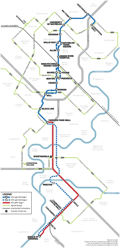Waterloo ION LRT route and feeders