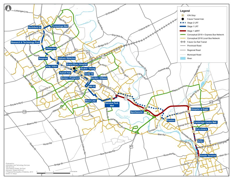 Waterloo ION LRT route map