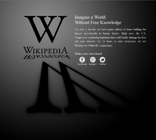 The English language Wikipedia site has gone dark in protest against PIPA/SOPA