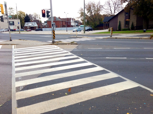 Zebra crossing closeup